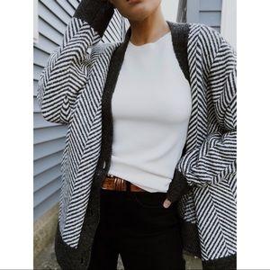 POL Oversized Striped Cardigan - Gray/White